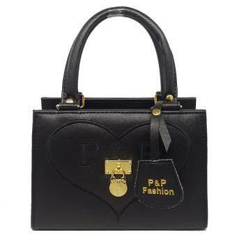 P&P Fashion Women Bag กระเป๋าถือแฟชั่นพร้อมสะพายข้างขายดี (สีดำ)