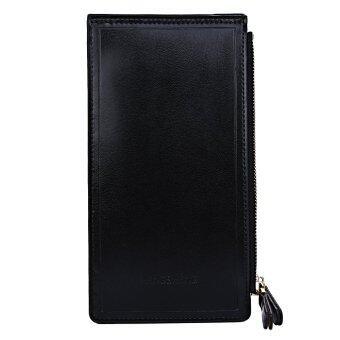 จดหมายตกแต่งสีทึบแบบมีซิปกระเป๋าสตางค์แนวตั้ง (สีดำ)