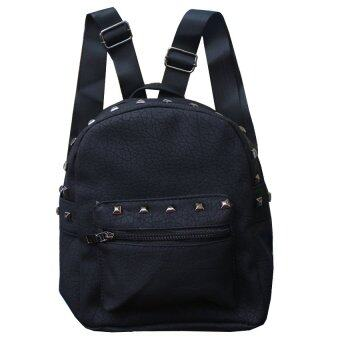 Peimm Modello กระเป๋าเป้สะพายหลัง แต่งหมุด สไตส์เกาหลี (สีดำ)