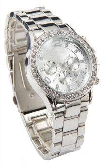 นาฬิกาข้อมือผู้หญิงวันที่ผลึกคริสตัลนาฬิกาหรูหญิงสาวเงิน