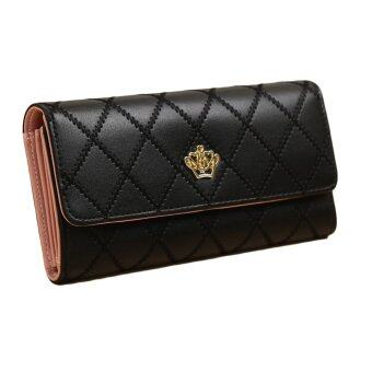 สตรีกระเป๋าสตางค์หนัง Pu ยาวสีทึบรูปทรงมงกุฎเงินเหรียญที่เก็บบัตรปุ่มสีดำ