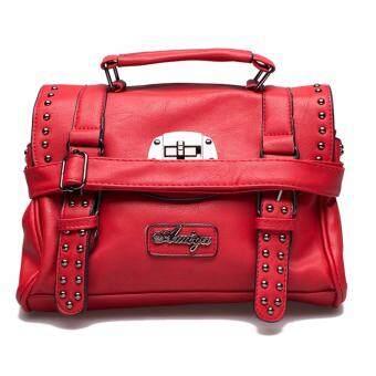 กระเป๋าถือ กระเป๋าสะพาย ผู้หญิง รหัส.6593-1 (สีแดง/ดำ)