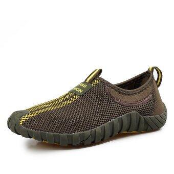 แฟชั่นผู้ชายรองเท้ากีฬาหายใจเบาแบน (สีเขียว)