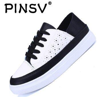 PINSV แฟชั่นสตรีรองเท้าลำลองรองเท้าสเก็ตบอร์ดรองเท้าผ้าใบ (ขาว / ดำ)
