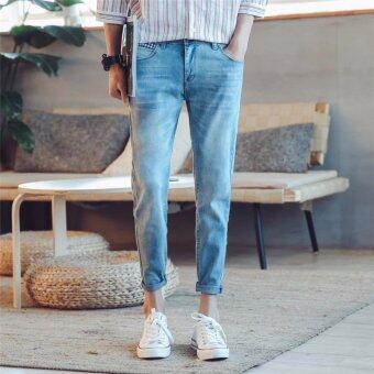 SAVE กางเกงยีนส์แฟชั่น กางเกงยีนส์ขายาวผู้ชาย (สียีนส์ซีด)รุ่น 1106