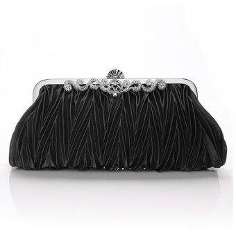 คลัตช์ลื่นใสถุงเย็น ๆ งานแต่งงานกระเป๋าถือสีดำ