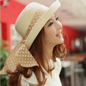 KPshop หมวกแฟชั่น หมวกมีปีก หมวกเที่ยวทะเล รุ่น LH-015 (สีครีม)