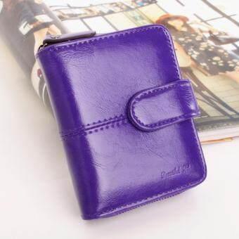 Koreaกระเป๋าสตางค์ผู้หญิง ใบสั้นมีช่องใส่เหรียญ หนัง รุ่นB099-9n(สีม่วง)
