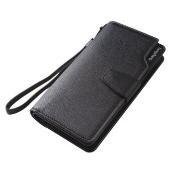 พวกหนัง Pu มีซิปใส่เหรียญกระเป๋าสตางค์กระเป๋าถือสตรีแฟชั่นสายรัดข้อมือ (สีดำ)