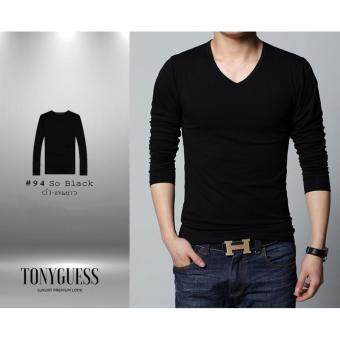 TONYGUESS เสื้อยืดแขนยาว + Cotton&Spandex สีดิบโคตรเท่ห์ 1ตัว (สีดำ คอวี)(Int:M)