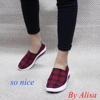 Alisa Shoes รองเท้าผ้าใบผู้หญิงแฟชั่นComfort รุ่น F7068 Maroon