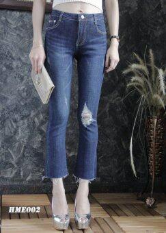 Platinum Fashion กางเกงยีนส์ขายาวเอวสูง ขาม้า แต่งขาด รุ่นHME002