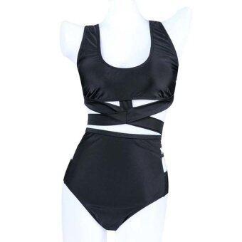 Gracefulvara ผู้หญิงเซ็กซี่บิกินี่เอวสูง 2ชิ้น/ชุดหญิงวิดพื้นมีเบาะชุดว่ายน้ำบีไซส์พิเศษ (สีดำ)