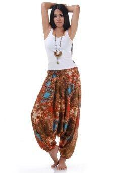 Princess of Asia กางเกงอลาดิน กางเกงจินนี่ กางเกงขาจั๊ม กางเกงแม้ว กางเกงแขก กางเกงอินเดีย (สีน้ำตาล)