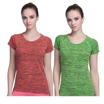 PBx - Exercise Lady T Shirt -เสื้อออกกำลังกาย ฟิตเน็ต ปั่นจักรยาน ผู้หญิง สีส้ม+สีเขียว (2ตัว)