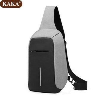 Harga KAKA Crossbody Bags for Men Messenger Chest Bag Pack Casual Packs Waterproof Oxford Single Shoulder Strap Pack (Grey) - intl