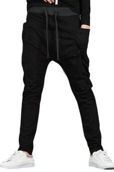 ชายร่างใหญ่ใส่กางเกงหูรูดด้านวิ่ง (สีดำ)