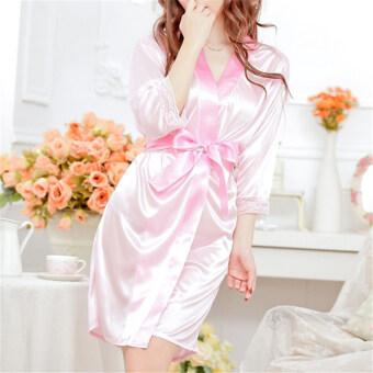 สาวเซ็กซี่ชุดชั้นในลูกไม้กางเกงแพรซาตินเทียมชุดนอนสวมเสื้อคลุมทับชุดนอนสีชมพู