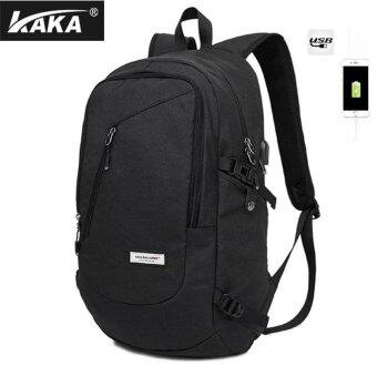 Harga Lan-store Premium Quality Male Backpack-KAKA Brand External USB Charge Laptop Multi-function Antitheft Notebook Bags Waterproof Computer Backpack for Men (Black) - intl