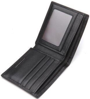 Bostanten แส้หนังกระเป๋าสตางค์ที่เก็บบัตรพับครึ่งแบบบัญชีสำหรับผู้ชาย (สีดำ) (image 3)
