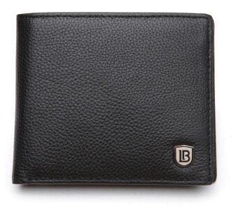 Bostanten แส้หนังกระเป๋าสตางค์ที่เก็บบัตรพับครึ่งแบบบัญชีสำหรับผู้ชาย (สีดำ) (image 2)