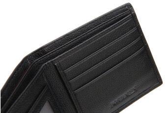 Bostanten แส้หนังกระเป๋าสตางค์ที่เก็บบัตรพับครึ่งแบบบัญชีสำหรับผู้ชาย (สีดำ) (image 4)