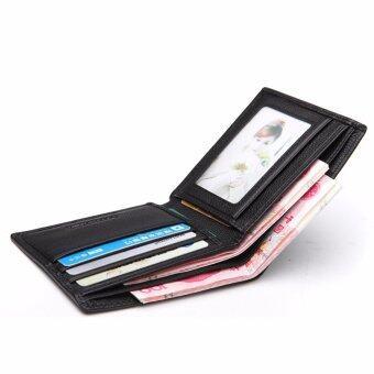 Bostanten แส้หนังกระเป๋าสตางค์ที่เก็บบัตรพับครึ่งแบบบัญชีสำหรับผู้ชาย (สีดำ) (image 1)