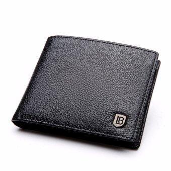 Bostanten แส้หนังกระเป๋าสตางค์ที่เก็บบัตรพับครึ่งแบบบัญชีสำหรับผู้ชาย (สีดำ) (image 0)