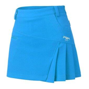 EXCEED กระโปรงสำหรับสุภาพสตรี PGM สีฟ้า Newest Brand Woman Golf Skirt Summer Clothes Pantskirt Anti Emptied Golf Shorts Fashion Pleated Skirt Safety Wrinkle Shorts (BLUE) QZ012