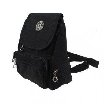 กระเป๋าเป้กระเป๋าเป้สะพายหลังไนลอนกระเป๋านักเรียนโรงเรียนเดินป่านักท่องเที่ยวกระเป๋ากระเป๋าสีดำ-ระหว่างประเทศ