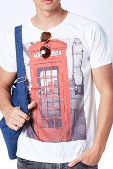 5th Avenue เสื้อยืดคอกลม Red Box London Front Print (White)