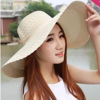 KPshop หมวกปีกกว้าง หมวกแฟชั่น หมวกไปทะเล รุ่น LH-001 (สีครีม)
