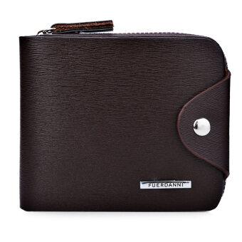 ผู้ชายคาบกระเป๋าสตางค์สีทึบ ๆ เส้นอักษรกลอนซิป 01 (กาแฟ)