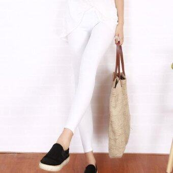 Harga Summer Women Leggings Candy Color Imitation Leather Pants Slim Thin Pencil Nine Pants (White) - intl