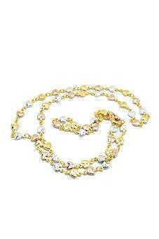 Tfine สร้อยคออิตาลี3กษัตริย์หัวใจ3สีทองนากเงิน24นิ้วชุบทองไมครอน