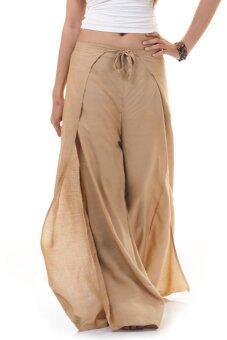 Princess of Asia กางเกงผ่าข้าง กางเกงแบบผูก กางเกงพัน (สีกากี)