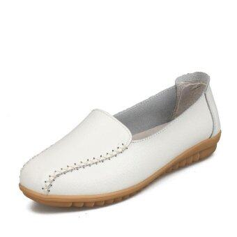 Harga รองเท้าสตรีแบนรองเท้าสบาย ๆ รองเท้าฤดูร้อนรองเท้าแม่รองเท้าพยาบาล Women's Flat Leahter Shoes Casual Shoes Summer Shoes Mother Shoes Nurse Shoes - intl