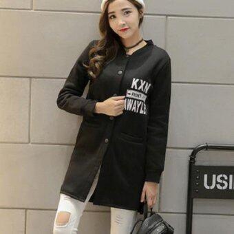 Dolly เสื้อคลุมกันหนาวสไตล์เกาหลีตัวยาว ผ้าสำลีผสมผ้าฝ้าย(สีดำ) รุ่น396
