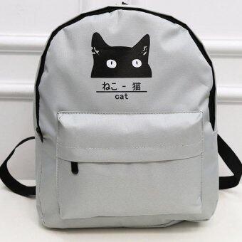 Open กระเป๋าแฟชั่นสตรี กระเป๋าเป้สะพายหลังรูปแมว (สีขาว) รุ่น021