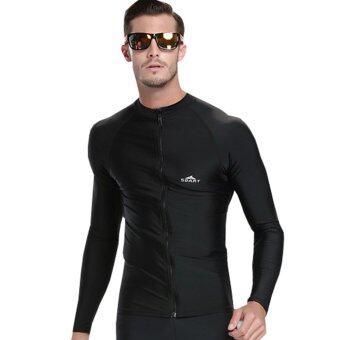 ชายเสื้อดำสวมเว็ทสูทดำน้ำว่ายแขนเสื้อยาวใส่ชุดว่ายน้ำเล่นยามราช-สีดำ