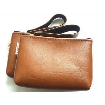 Goods24 กระเป๋าใบเล็ํก กระเป๋าใส่เหรียญ กระเป๋าใส่บัตรสีน้ำตาลอ่อนรุ่นมีสายหิ้ว 1คู่
