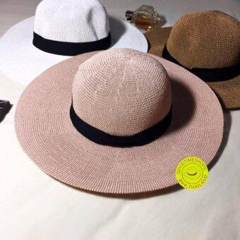 Goodtimeshops-หมวกปานามา Bowler Crochet wide brim lightpink