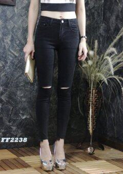 Platinum Fashion กางเกงยีนส์ขายาวเอวสูง ทรงสกินนี่ แต่งขาดหัวเข่าเล็กน้อย รุ่นFF2238