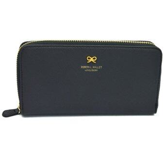Harga Lovely Bowknot PU Leather Women Long Purse Hand Bag Black