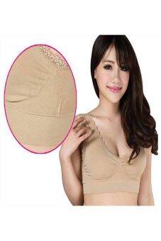 PBx - Seamless Sport Bra with Lace - สปอร์ตบราสวมสบายขอบลูกไม้ (สีเนื้อ)