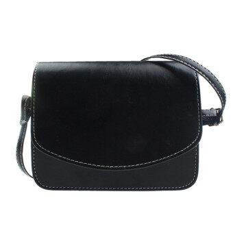 กระเป๋าสะพายสตรีกระเป๋าถือกระเป๋านักเรียนหนังเทียมสารเรโทรสีดำ