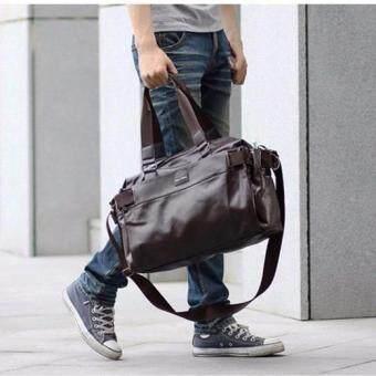 Osaka กระเป๋าสะพายไหล่ผู้ชาย หรือถือ หนัง PU รุ่น NG515 - สีน้ำตาลเข้ม