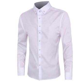 แฟชั่นเกาหลีสไตล์บางคนเสื้อสีทึบ 2559 ใหม่เสื้อเชิ้ตผู้ชายแขนยาวแข็งธรรมดา (ขาว)