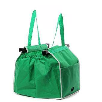 Harga Hequ New Supermarket Shopping Bag Foldable Tote Reusable Big-size Washable Eco-friendly Grab Bag Supermarket Trolley Bag Green - intl