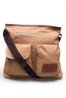 DM กระเป๋าสะพายข้าง รุ่น KCAJ Canvas 2B ( สีน้ำตาล )